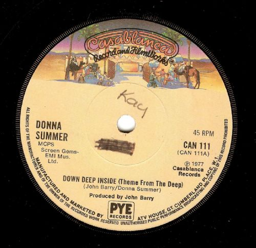 DONNA SUMMER Down Deep Inside (Theme From The Deep) Vinyl Record 7 Inch Casablanca 1977
